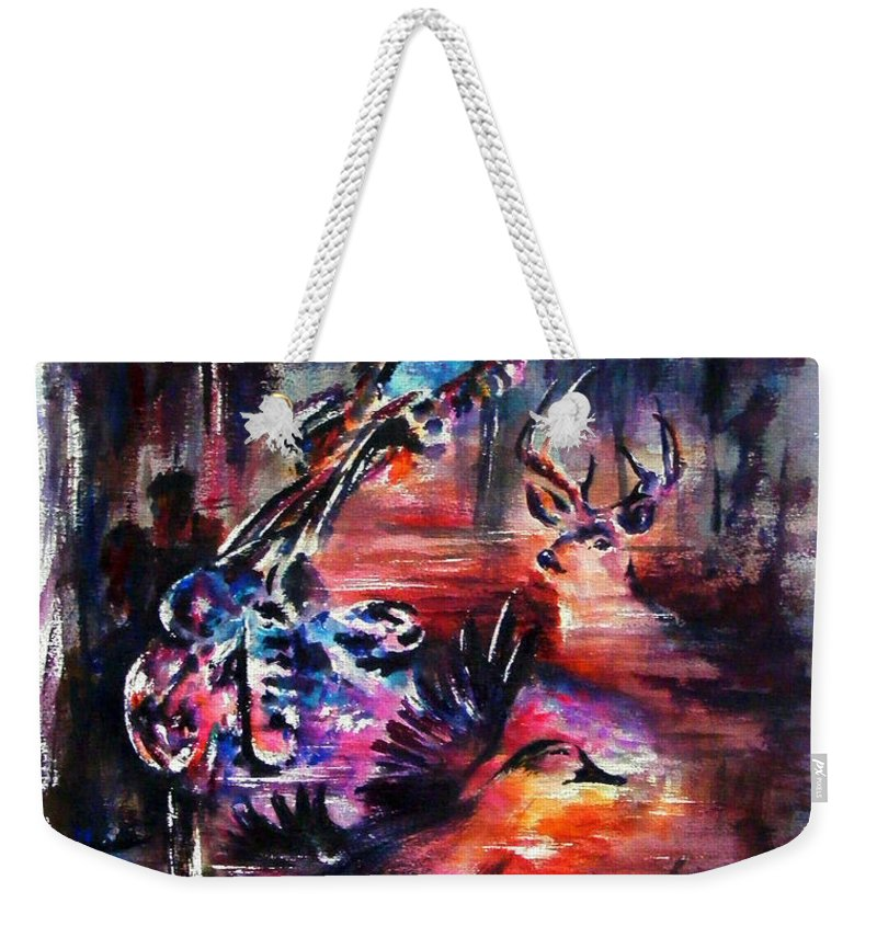 Landscape Weekender Tote Bag featuring the painting Southern Man by Rachel Christine Nowicki