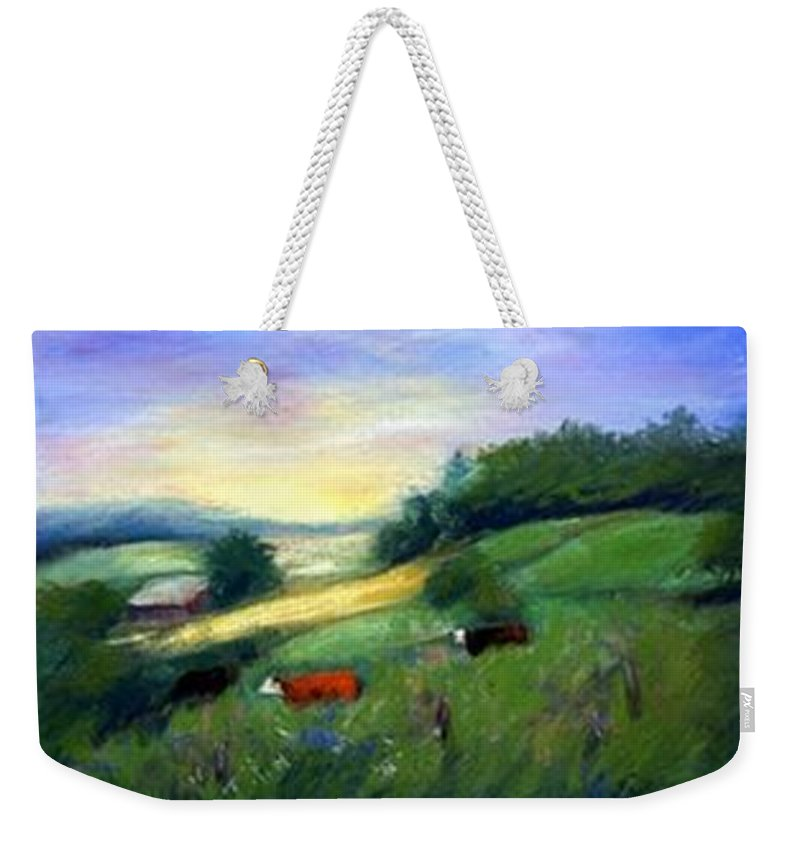 Landscape Weekender Tote Bag featuring the painting Southern Ohio Farm by Gail Kirtz