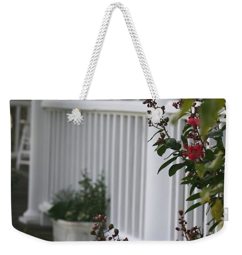 Summer Weekender Tote Bag featuring the photograph Southern Summer Flowers And Porch by Nadine Rippelmeyer