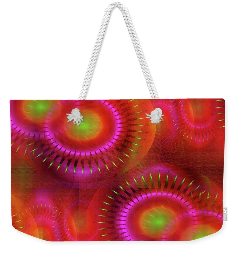 Abstract Weekender Tote Bag featuring the digital art Southern Sun 2 by Iris Gelbart