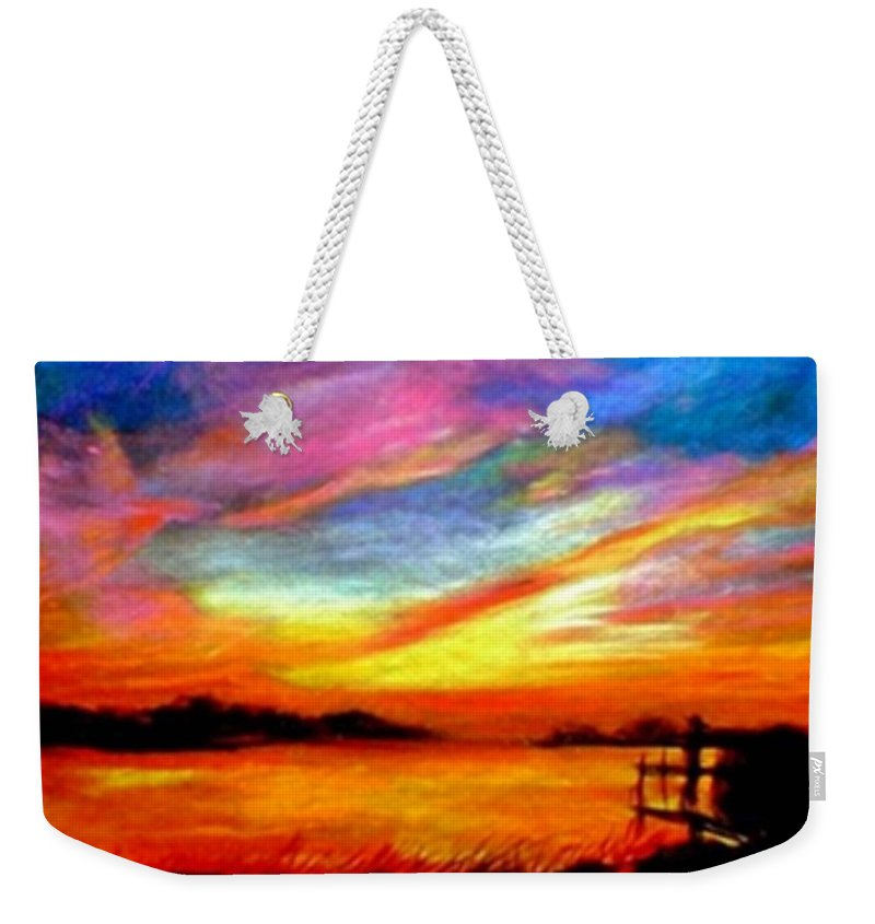 Sunset Weekender Tote Bag featuring the painting Southern Sunset by Gail Kirtz
