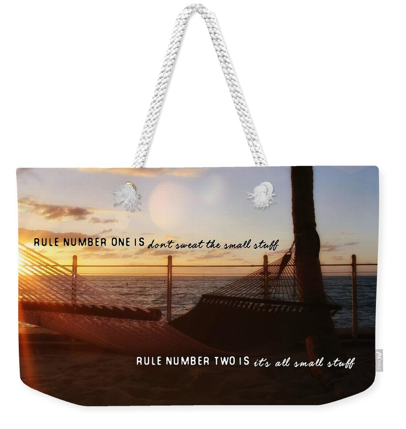 Sunrise Weekender Tote Bag featuring the photograph Southernmost Quote by JAMART Photography