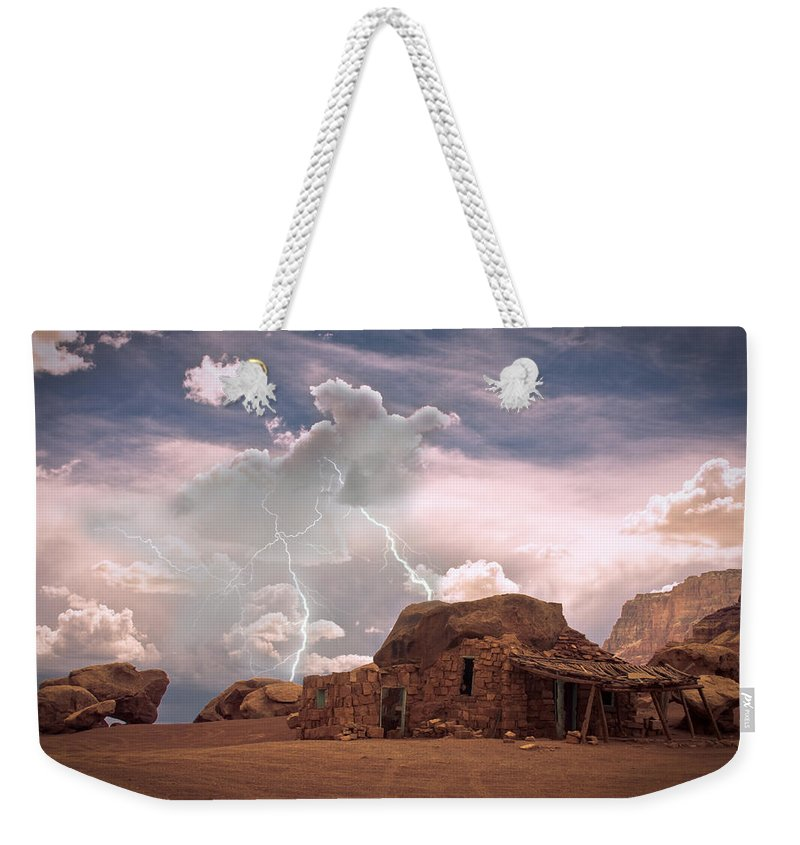 Lightning Strikes; Lightning; Nature; Landscapes; Southwest Desert; Rustic; Thunderstorms; Fine Art Weekender Tote Bag featuring the photograph Southwest Navajo Rock House And Lightning Strikes by James BO Insogna