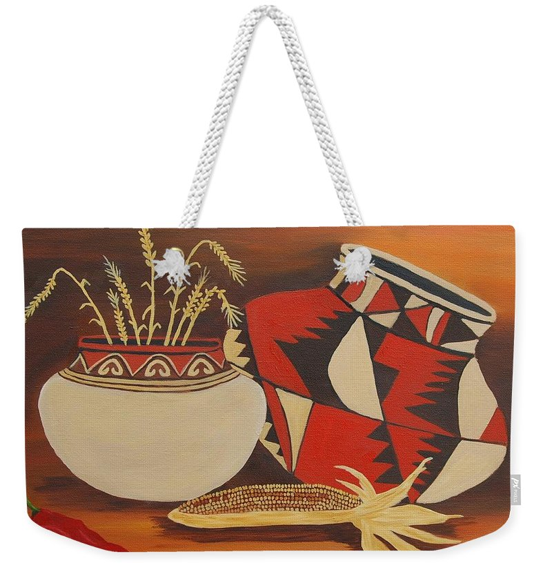 Still Life Weekender Tote Bag featuring the painting Southwest Pottery by Ruth Housley