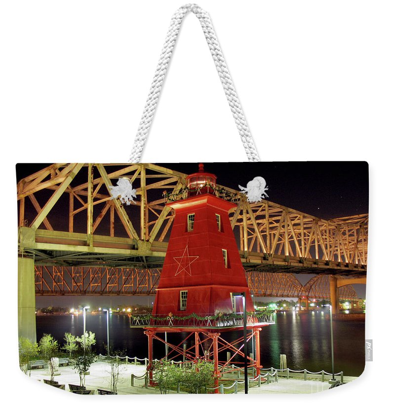 Southwest Reef Lighthouse Weekender Tote Bag featuring the photograph Southwest Reef Lighthouse, Berwick, Louisiana by Wernher Krutein