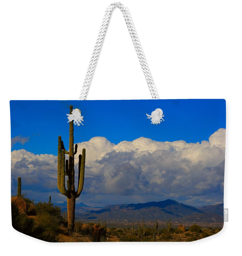 Southwest Weekender Tote Bag featuring the photograph Southwest Saguaro Desert Landscape by James BO Insogna