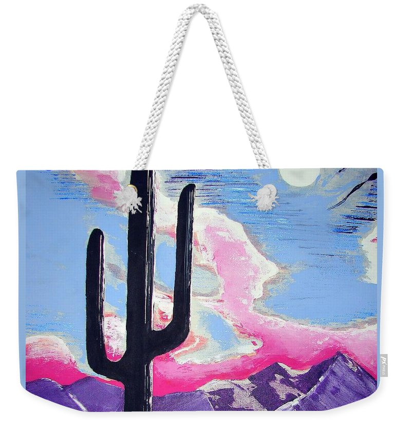 Cactus Weekender Tote Bag featuring the painting Southwest Skies 2 by J R Seymour