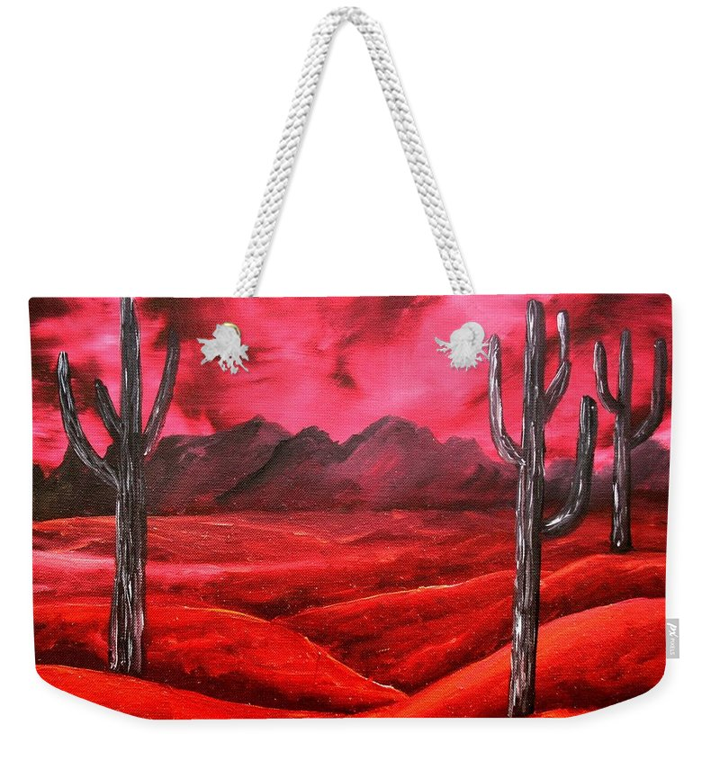Red Weekender Tote Bag featuring the painting Southwestern Abstract Oil Painting by Derek Mccrea