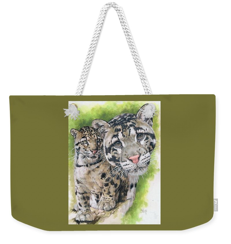 Clouded Leopard Weekender Tote Bag featuring the mixed media Sovereignty by Barbara Keith