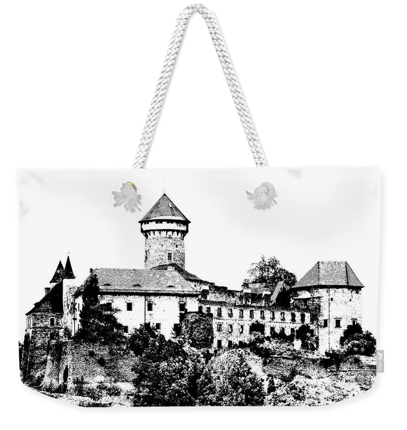 Castle Weekender Tote Bag featuring the mixed media Sovinec - Castle Of The Holy Order by Michal Boubin