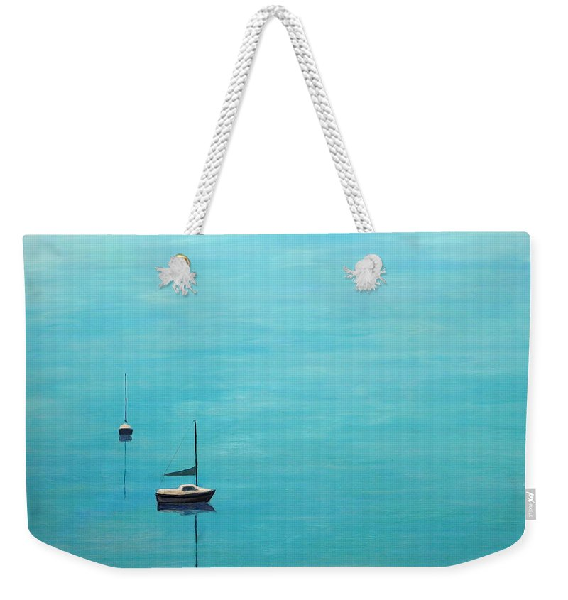 Sea Weekender Tote Bag featuring the painting Space 2 by Asher Topel