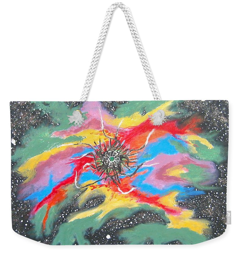 Space Weekender Tote Bag featuring the painting Space Garden by V Boge