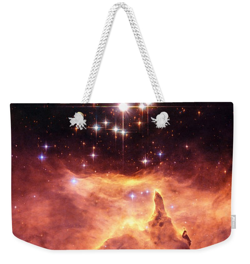 Star Cluster Weekender Tote Bag featuring the digital art Space Image Orange And Red Star Cluster With Blue Stars by Matthias Hauser