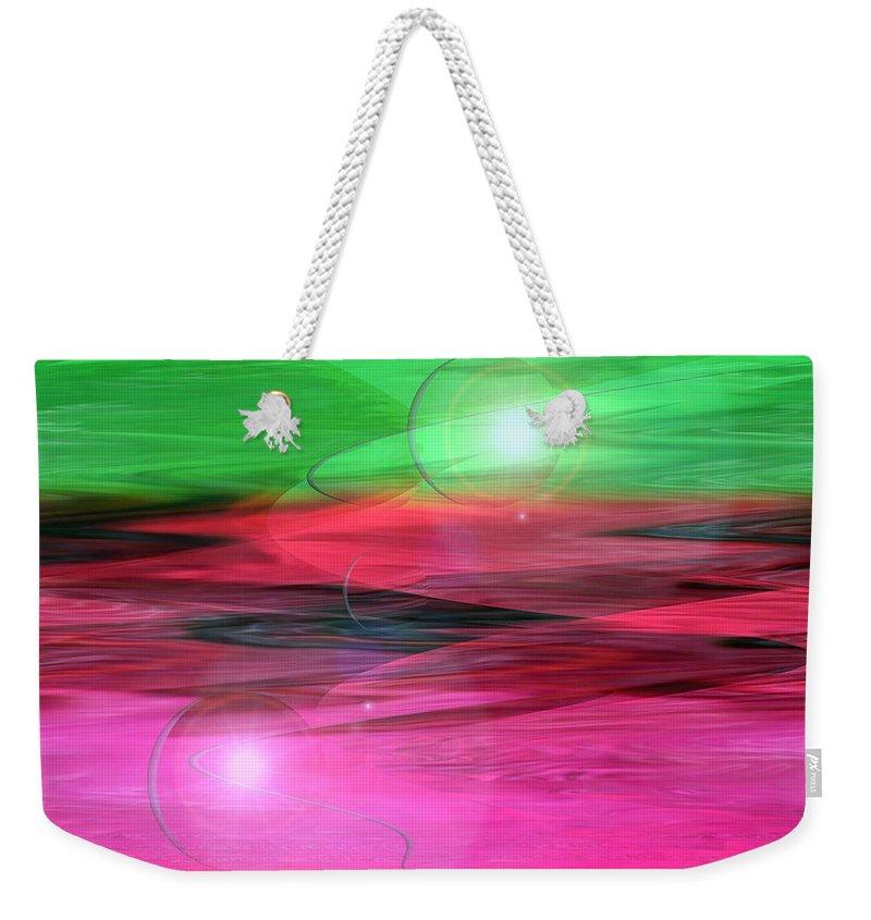 Space Art Weekender Tote Bag featuring the digital art Space Oddity by Linda Sannuti