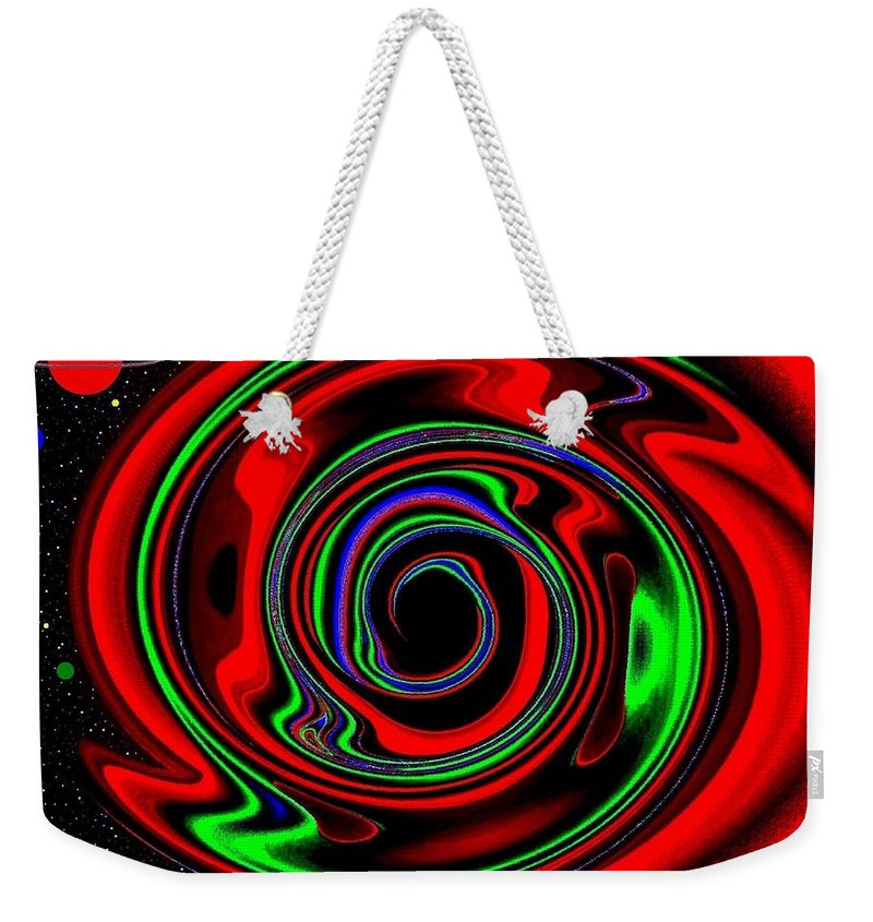 Abstract Weekender Tote Bag featuring the digital art Space Twister by Will Borden