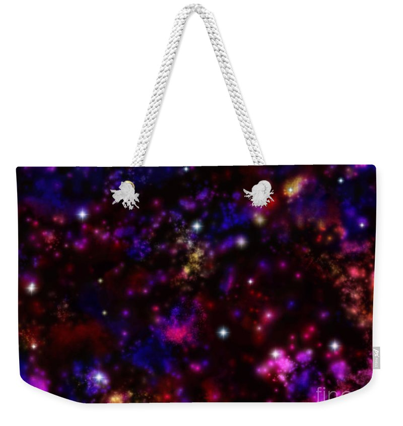 Space Weekender Tote Bag featuring the painting Space Walk Fantasy by Roxy Riou