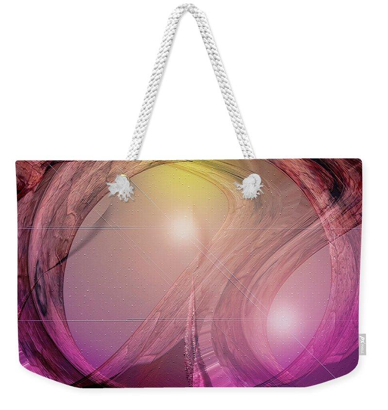 Digital Art Weekender Tote Bag featuring the digital art Spacebase by Linda Sannuti