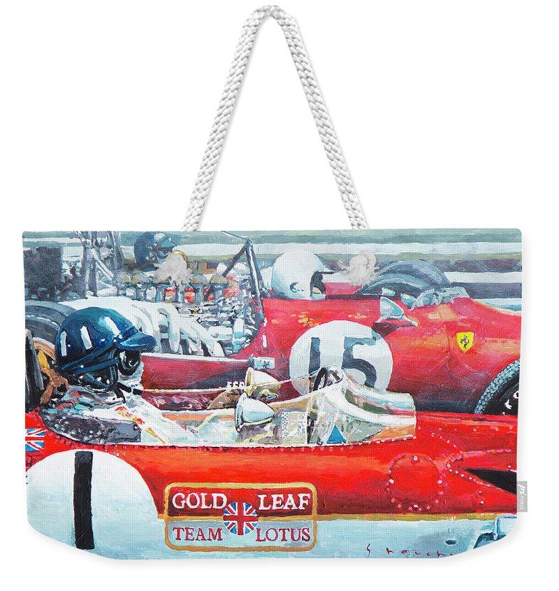Acrilic Weekender Tote Bag featuring the painting Spain Gp 1969 Lotus 49 Hill Ferrari 312 Amon Lotus 49b Rindt by Yuriy Shevchuk