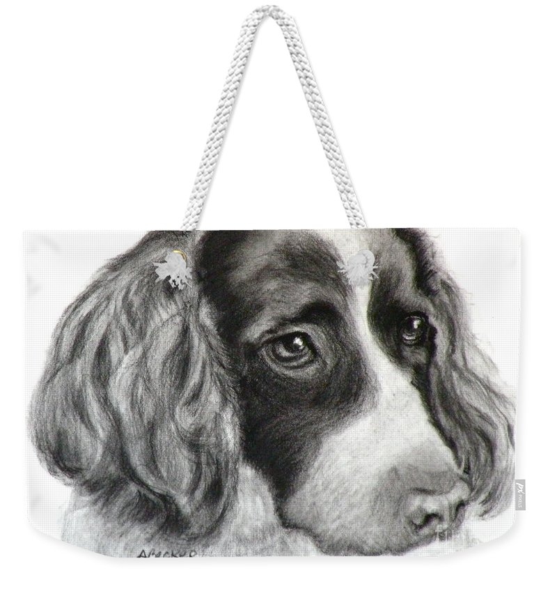 Dogs Weekender Tote Bag featuring the painting Spaniel Drawing by Susan A Becker