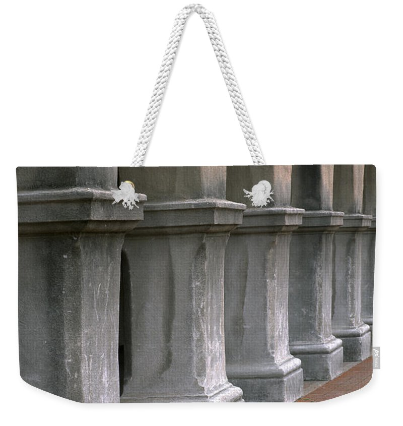 Architecture Weekender Tote Bag featuring the photograph Spanish Columns by Sandra Bronstein
