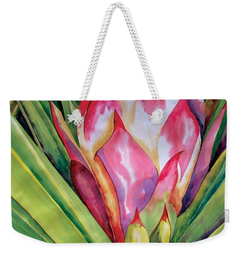 Floral Painting Weekender Tote Bag featuring the painting Spanish Dagger Iv by Kandyce Waltensperger