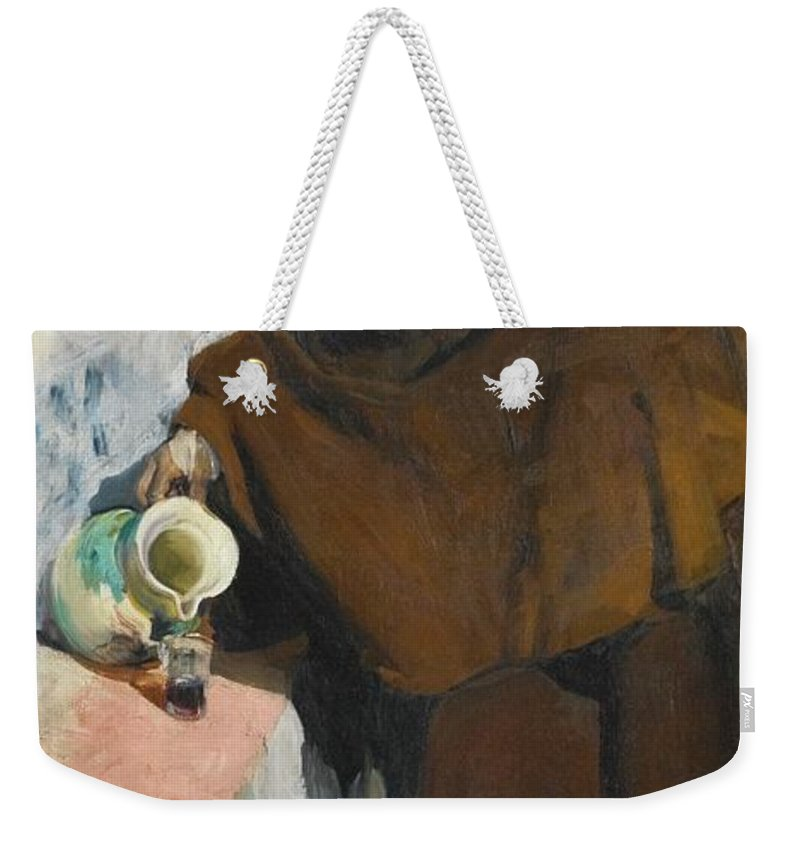 Joaquin Sorolla 1863 - 1923 Spanish Old Castilian Making Use Wine (the Old Man Of Castille) Weekender Tote Bag featuring the painting Spanish Old Castilian Making Use Wine by MotionAge Designs