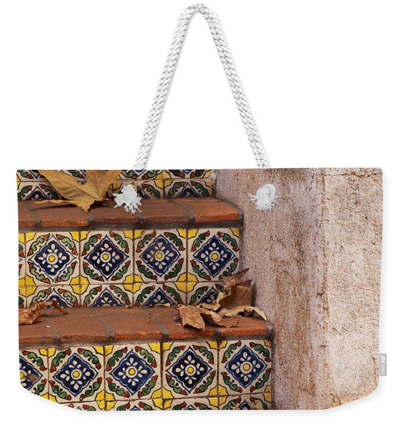 Southwest Weekender Tote Bag featuring the photograph Spanish Tile Stair by Sandra Bronstein