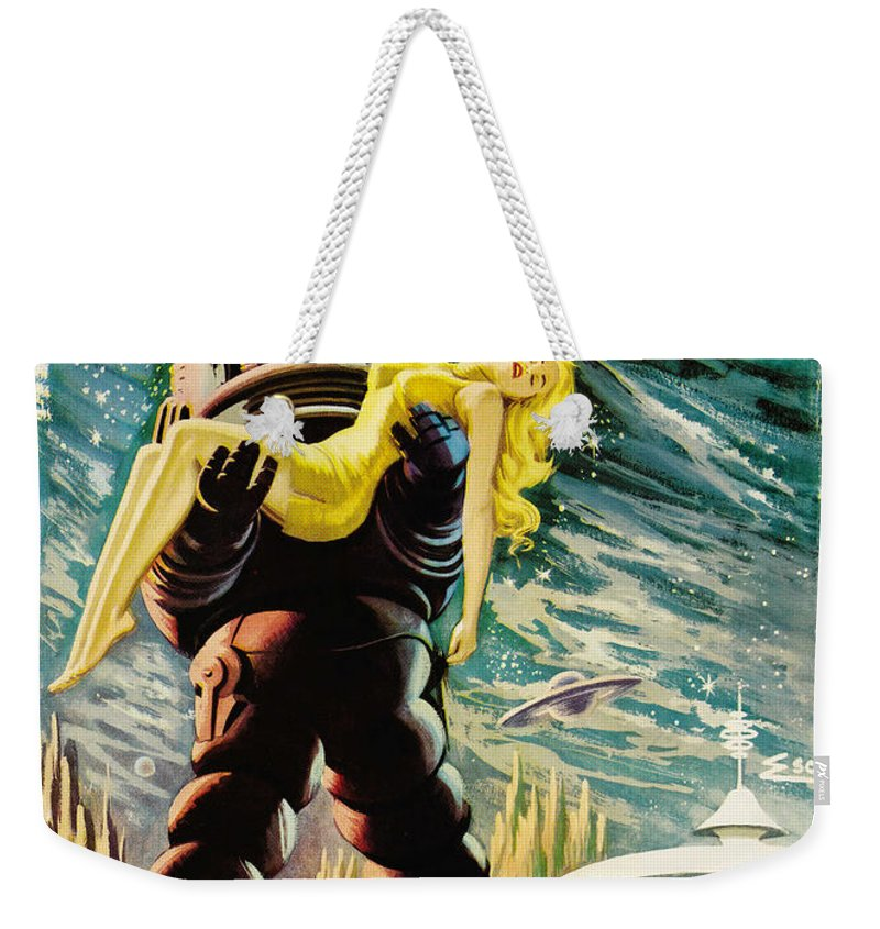 Spanish Version Weekender Tote Bag featuring the painting Spanish Version Of Forbidden Planet In Cinemascope Retro Classic Movie Poster by R Muirhead Art