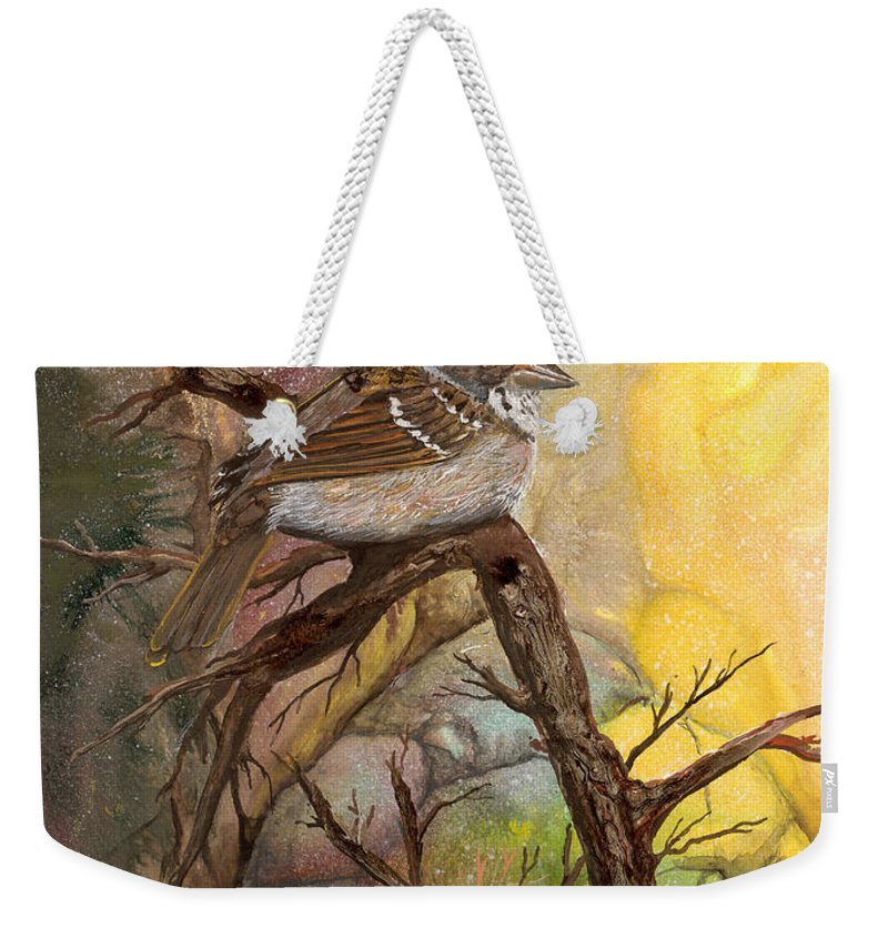 Bird Weekender Tote Bag featuring the painting Sparrow by Sherry Shipley