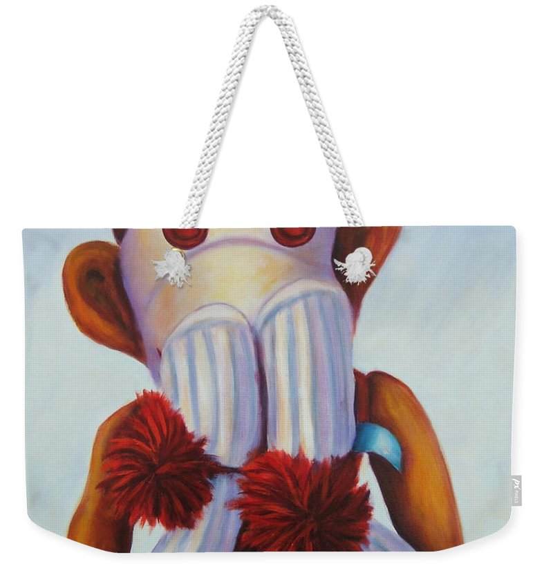 Children Weekender Tote Bag featuring the painting Speak No Bad Stuff Sock Monkey by Shannon Grissom