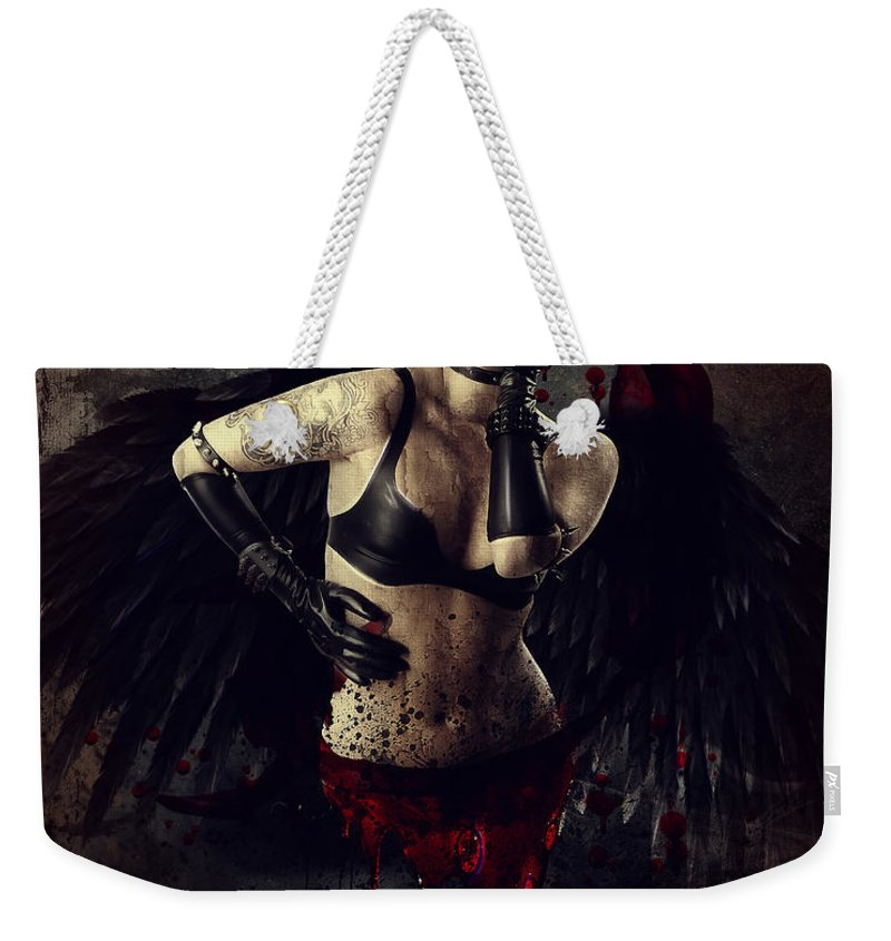 Angel Weekender Tote Bag featuring the digital art Speak No Evil by Karen Koski