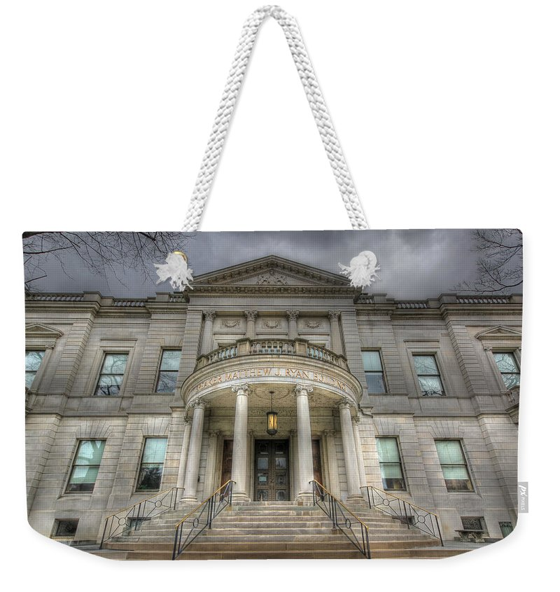 Sold Weekender Tote Bag featuring the photograph Speaker Matthew J. Ryan Building by Shelley Neff
