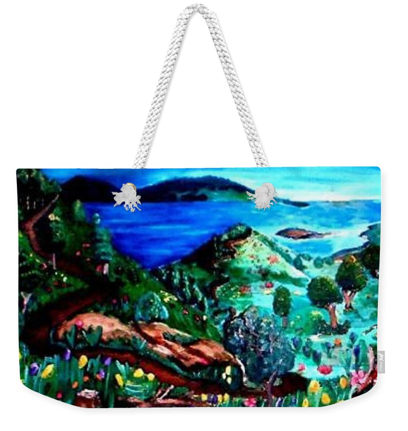Landscape Weekender Tote Bag featuring the painting Special Land by Andrew Johnson