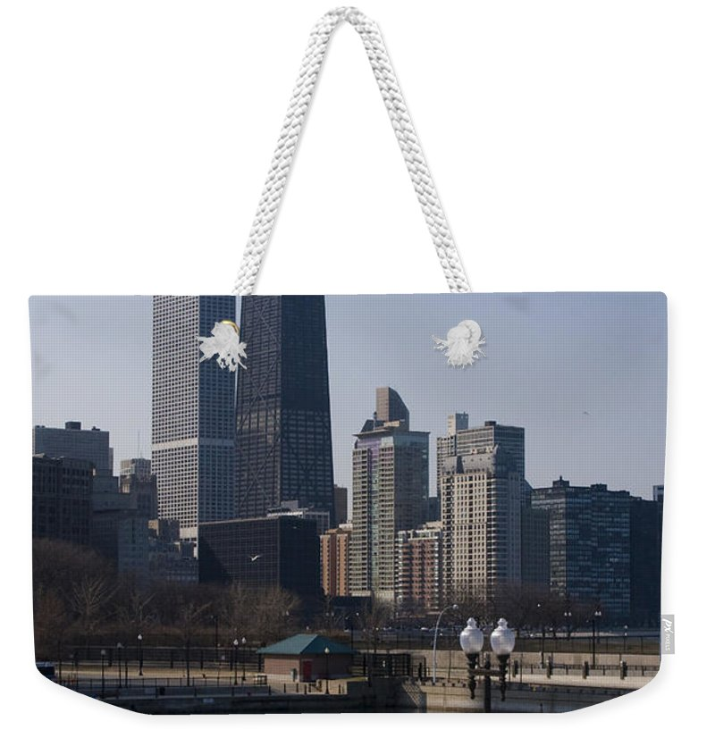 Chicago Windy City Skyline Building Skyscraper Water Lake Michigan Blue Sky Weekender Tote Bag featuring the photograph Special Moment by Andrei Shliakhau