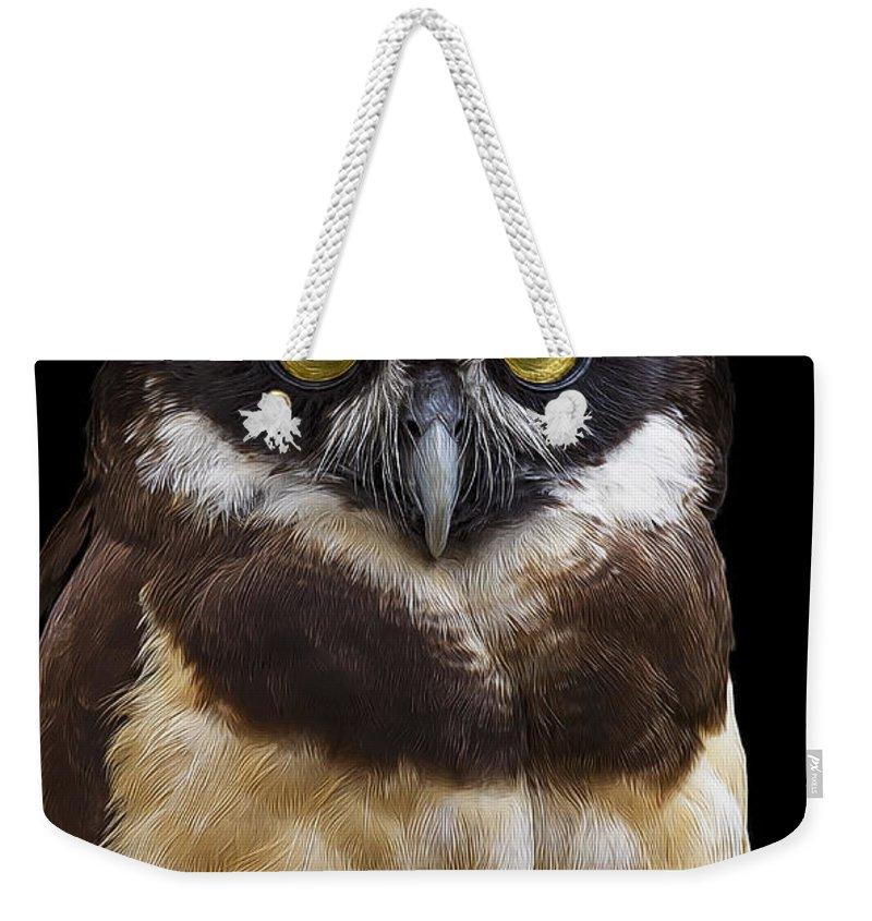 Spectacled Owl Weekender Tote Bag featuring the photograph Spectacled Owl by Janet Fikar