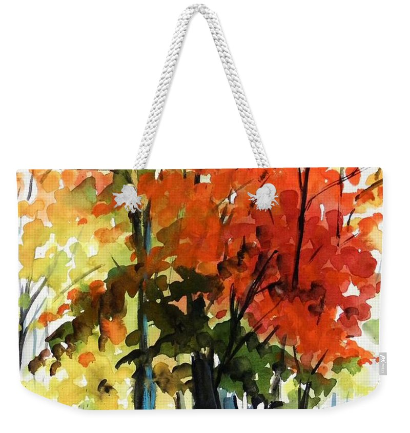 Trees Weekender Tote Bag featuring the painting Spectacular by John Williams