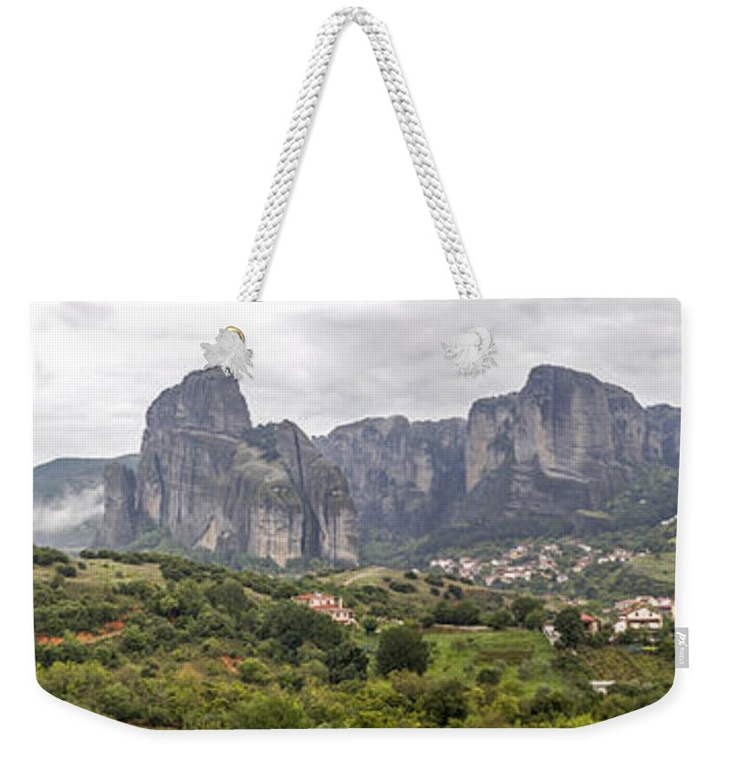 Panorama Weekender Tote Bag featuring the photograph Spectacular Meteora Rock Formations by Moshe Torgovitsky