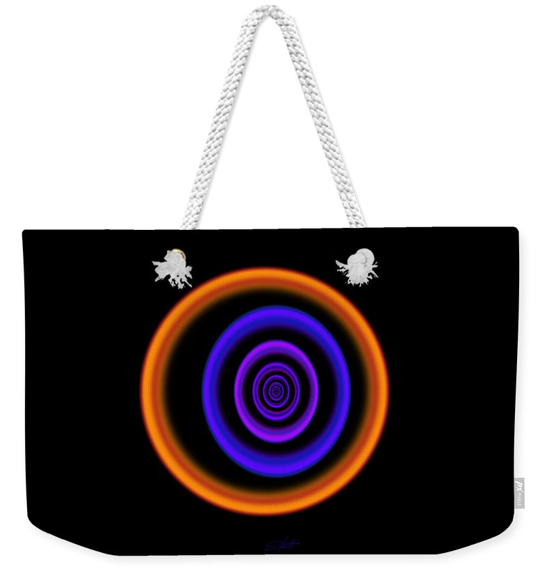 Abstract Black Weekender Tote Bag featuring the painting Spectrum by Charles Stuart
