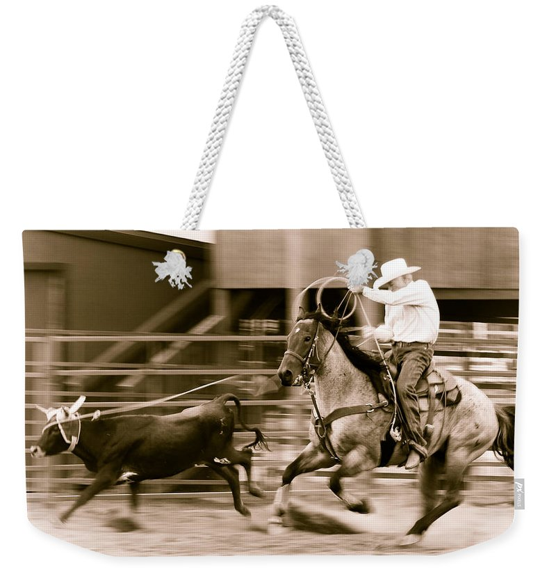 Rodeo Weekender Tote Bag featuring the photograph Speed by Scott Sawyer