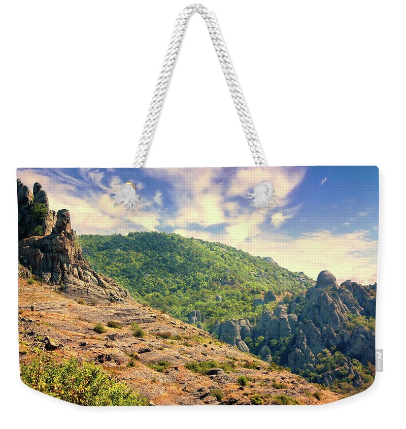 Mountain Weekender Tote Bag featuring the photograph Sphinx On Demerdzhi by Yuri Hope