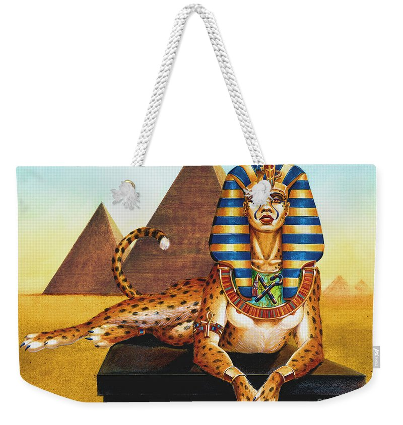 Cat Weekender Tote Bag featuring the painting Sphinx On Plinth by Melissa A Benson