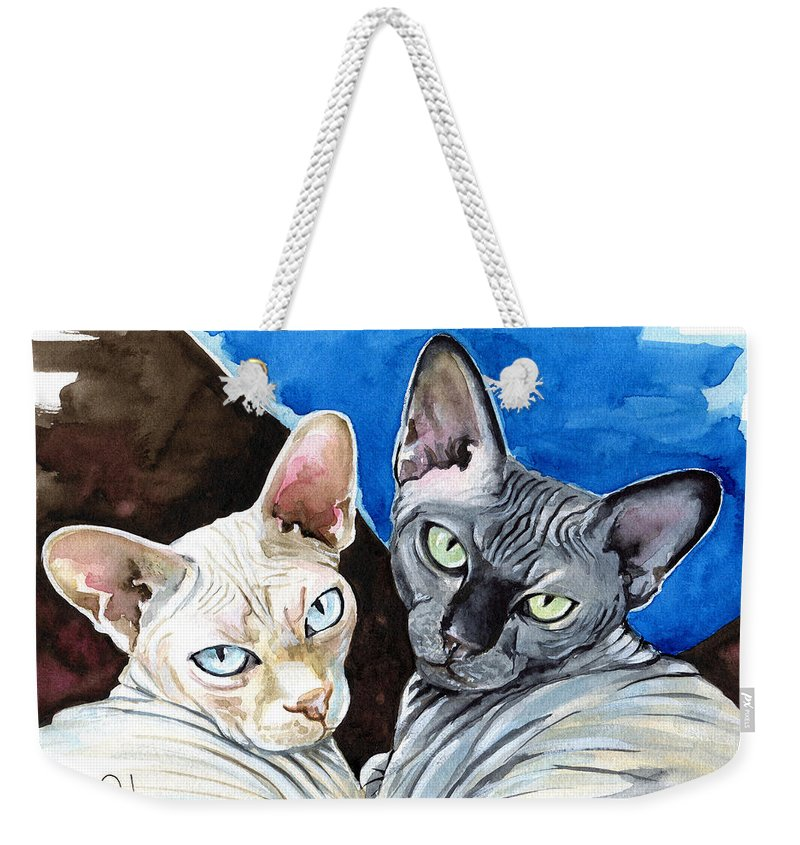 Cats Weekender Tote Bag featuring the painting Sphynx Love - Cat Painting by Dora Hathazi Mendes
