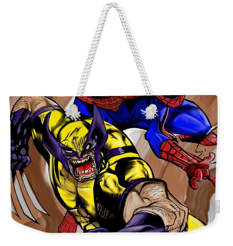 Spider-man Weekender Tote Bag featuring the digital art Spider And The Wolverine by Kendall Tabor