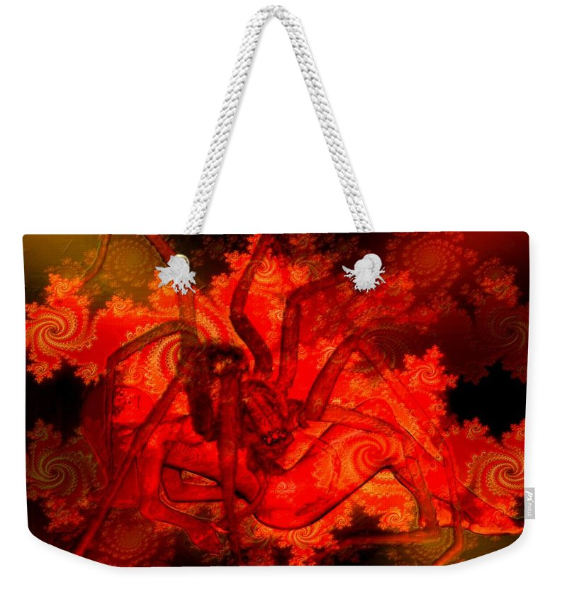Spider Weekender Tote Bag featuring the digital art Spider Catches Virgin In Space by Helmut Rottler