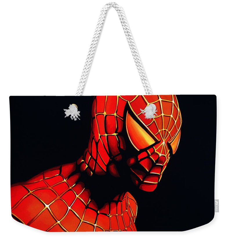 Spiderman Weekender Tote Bag featuring the painting Spiderman by Paul Meijering