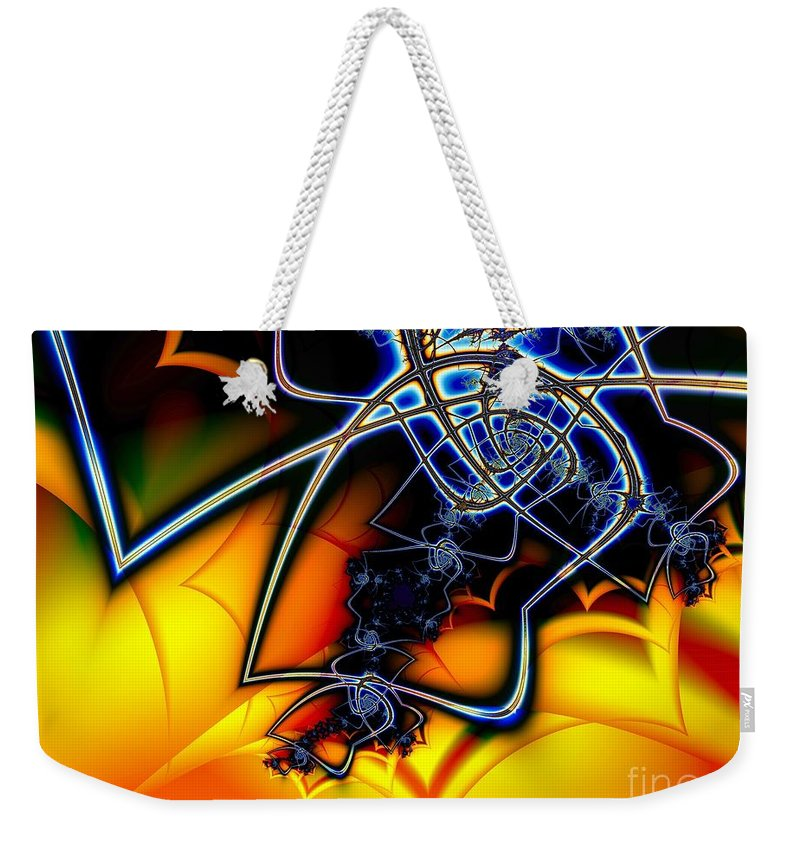 Spider Weekender Tote Bag featuring the digital art Spiders Lair by Ron Bissett
