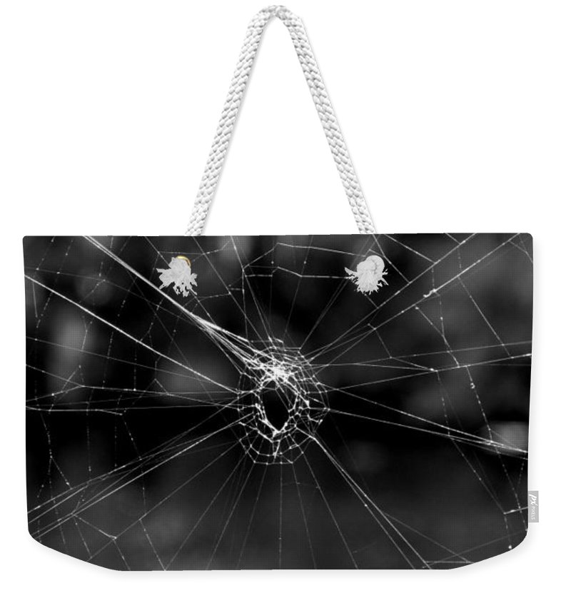 Black And White Weekender Tote Bag featuring the photograph Spiderweb by Michele Nelson