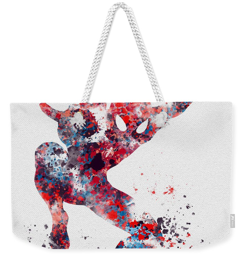 Spiderman Weekender Tote Bag featuring the mixed media Spidey by My Inspiration