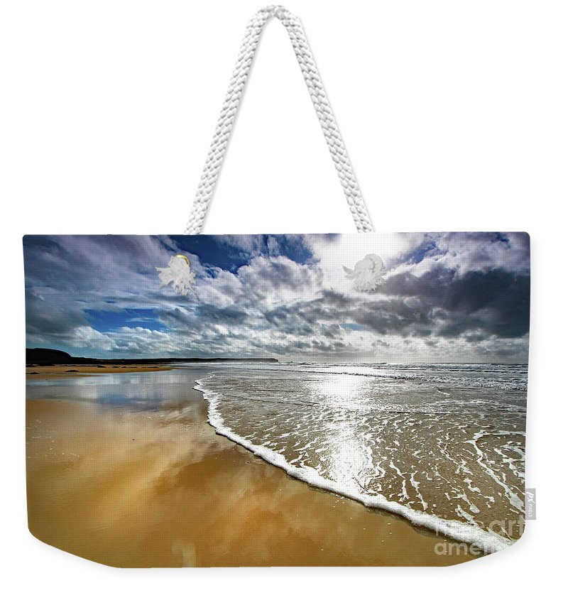 Seascape Weekender Tote Bag featuring the photograph Spindrift # 167 by Mark Haynes