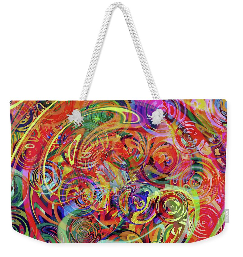 Abstract Digital Weekender Tote Bag featuring the digital art Spinning Loom by Grace Iradian